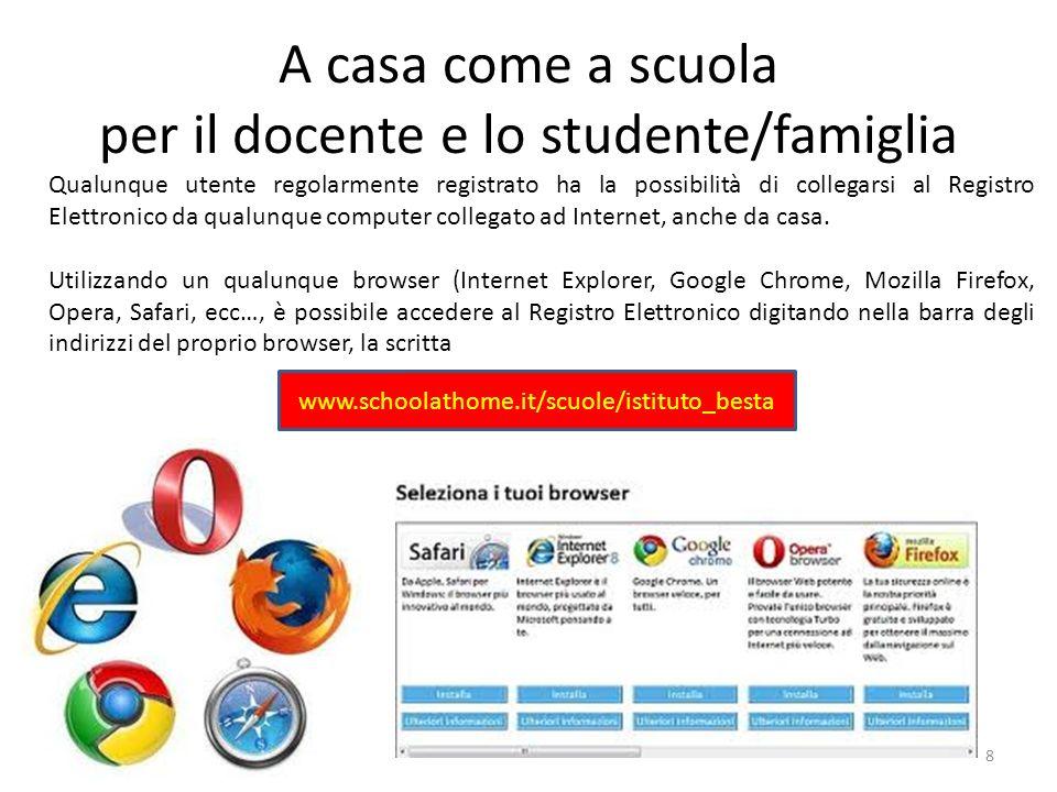 A casa come a scuola per il docente e lo studente/famiglia Qualunque utente regolarmente registrato ha la possibilità di collegarsi al Registro Elettr