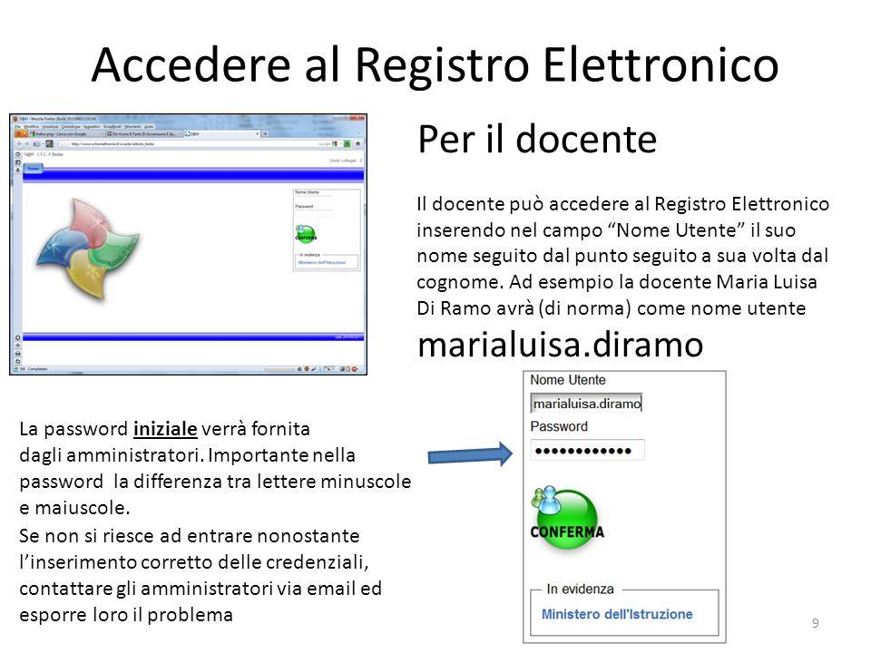 Accedere al Registro Elettronico 9 Per il docente Il docente può accedere al Registro Elettronico inserendo nel campo Nome Utente il suo nome seguito