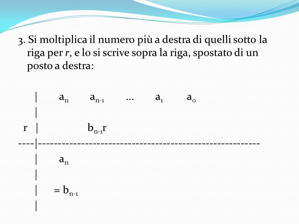 3. Si moltiplica il numero più a destra di quelli sotto la riga per r, e lo si scrive sopra la riga, spostato di un posto a destra:   a n a n-1... a 1