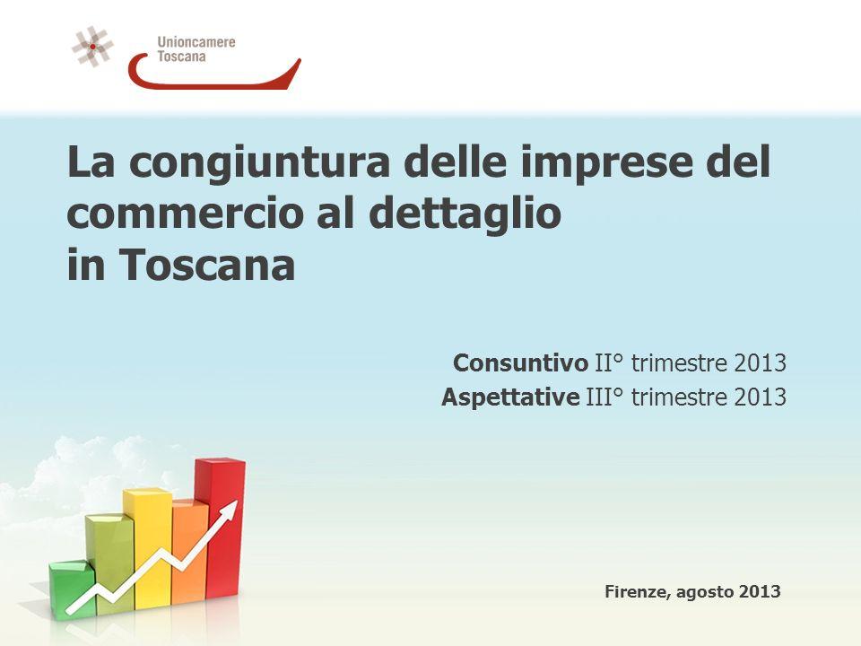 La congiuntura delle imprese del commercio al dettaglio in Toscana Consuntivo II° trimestre 2013 Aspettative III° trimestre 2013 Firenze, agosto 2013