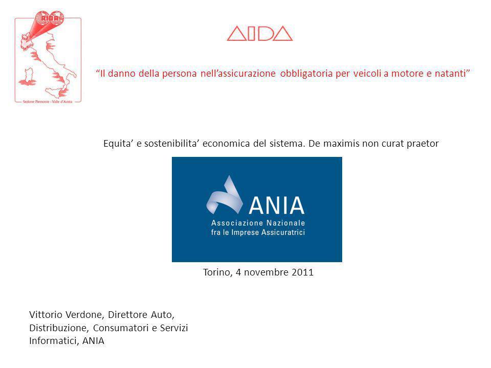 Vittorio Verdone, Direttore Auto, Distribuzione, Consumatori e Servizi Informatici, ANIA Torino, 4 novembre 2011 Il danno della persona nellassicurazi