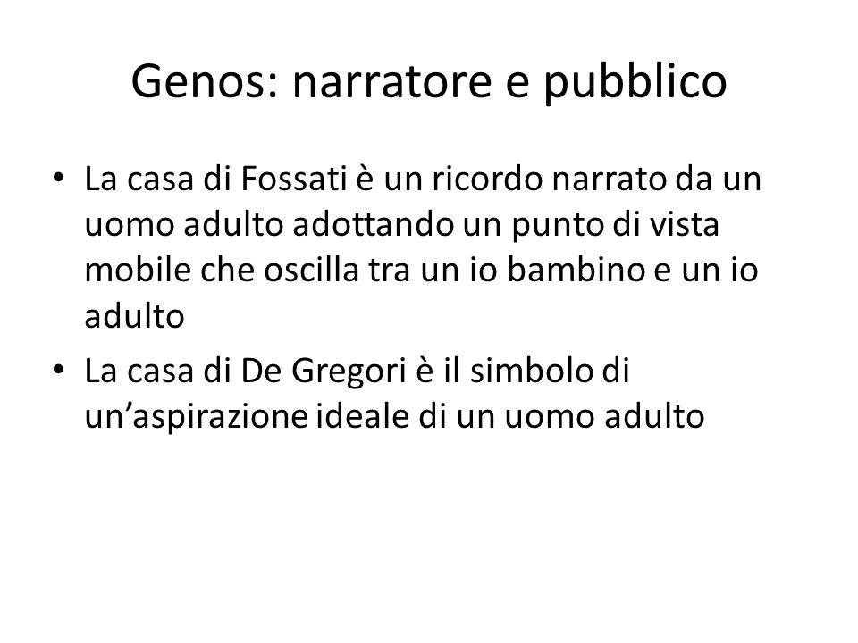 Genos: narratore e pubblico La casa di Fossati è un ricordo narrato da un uomo adulto adottando un punto di vista mobile che oscilla tra un io bambino