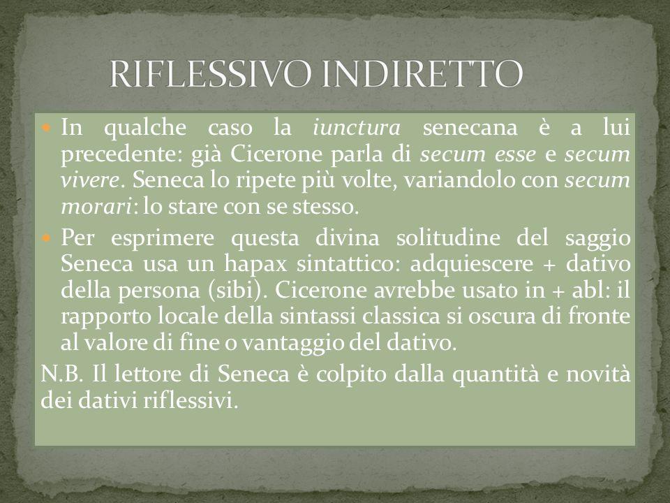 In qualche caso la iunctura senecana è a lui precedente: già Cicerone parla di secum esse e secum vivere. Seneca lo ripete più volte, variandolo con s
