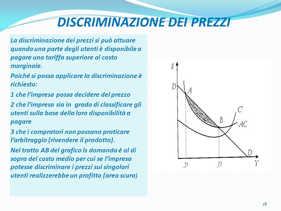 DISCRIMINAZIONE DEI PREZZI La discriminazione dei prezzi si può attuare quando una parte degli utenti è disponibile a pagare una tariffa superiore al costo marginale.