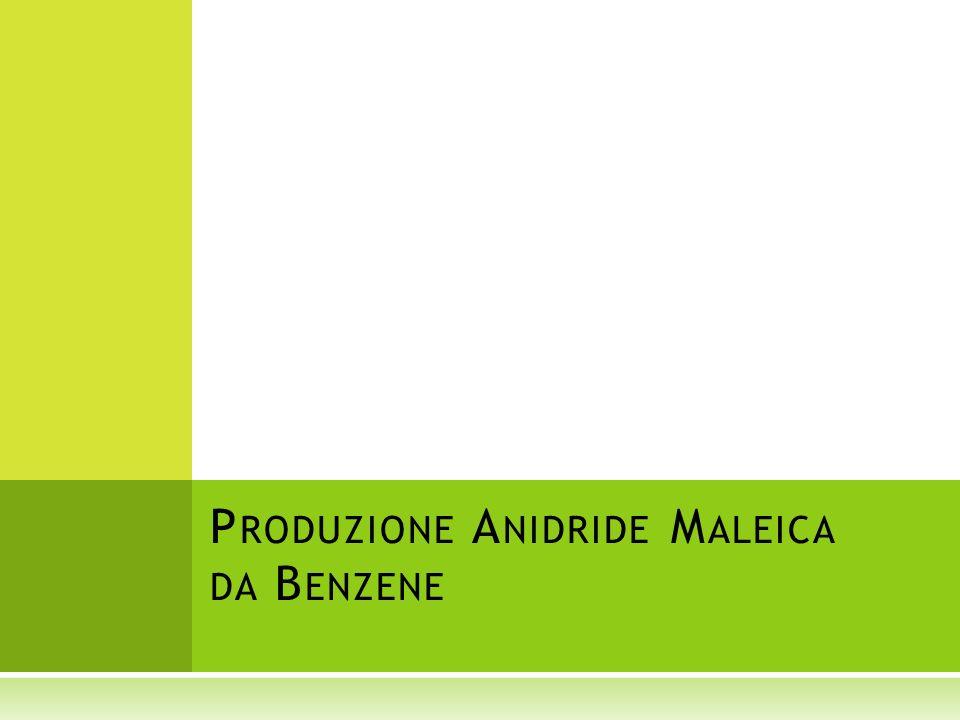 Il benzene miscelato con aria compressa viene riscaldato e inviato al reattore R1 Lacqua può reagire con lanidride maleica formando acido maleico.