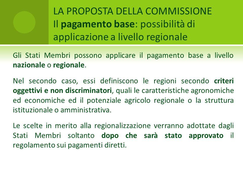 LA PROPOSTA DELLA COMMISSIONE Il pagamento base: possibilità di applicazione a livello regionale Gli Stati Membri possono applicare il pagamento base