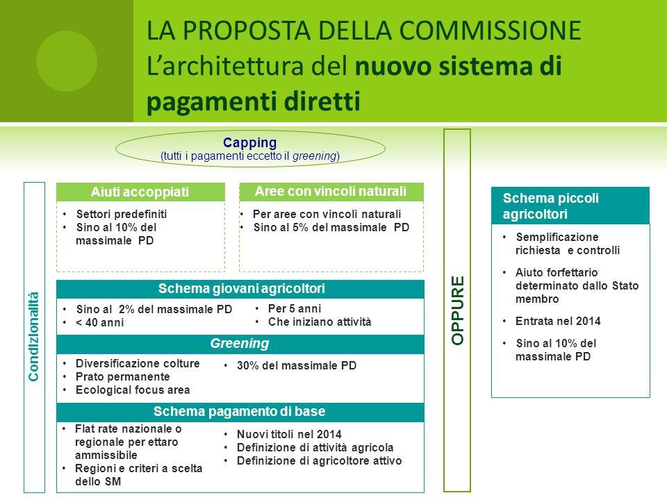 LA PROPOSTA DELLA COMMISSIONE Larchitettura del nuovo sistema di pagamenti diretti Condizionalità Schema pagamento di base Nuovi titoli nel 2014 Defin