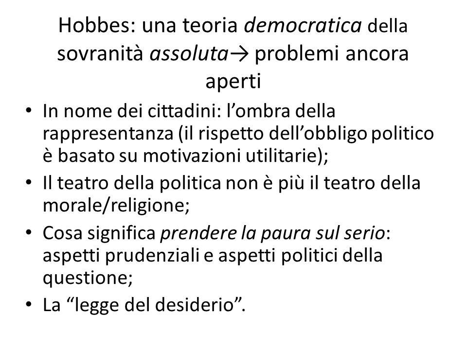 Hobbes: una teoria democratica della sovranità assoluta problemi ancora aperti In nome dei cittadini: lombra della rappresentanza (il rispetto dellobb