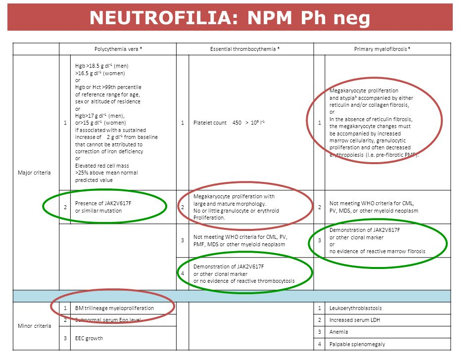 NEUTROFILIA: NPM Ph neg Polycythemia vera a Essential thrombocythemia a Primary myelofibrosis a Major criteria 1 Hgb >18.5 g dl -1 (men) >16.5 g dl -1 (women) or Hgb or Hct >99th percentile of reference range for age, sex or altitude of residence or Hgb>17 g dl -1 (men), or>15 g dl -1 (women) if associated with a sustained increase of 2 g dl -1 from baseline that cannot be attributed to correction of iron deficiency or Elevated red cell mass >25% above mean normal predicted value 1Platelet count 450 > 10 9 l -1 1 Megakaryocyte proliferation and atypia b accompanied by either reticulin and/or collagen fibrosis, or In the absence of reticulin fibrosis, the megakaryocyte changes must be accompanied by increased marrow cellularity, granulocytic proliferation and often decreased erythropoiesis (i.e.