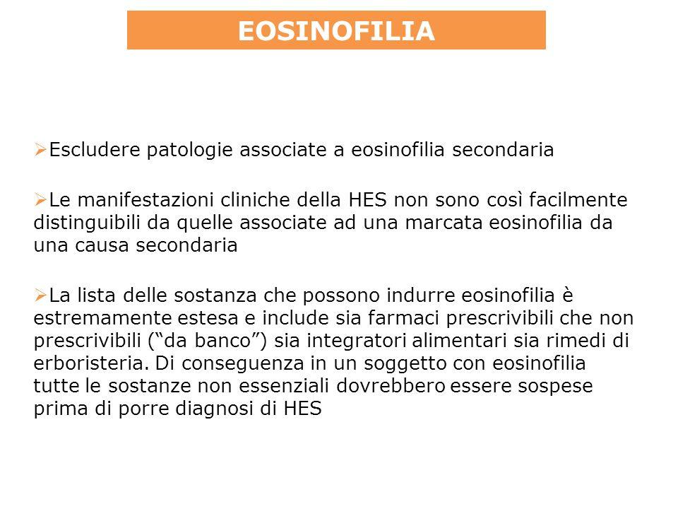 La lista delle sostanza che possono indurre eosinofilia è estremamente estesa e include sia farmaci prescrivibili che non prescrivibili (da banco) sia integratori alimentari sia rimedi di erboristeria.