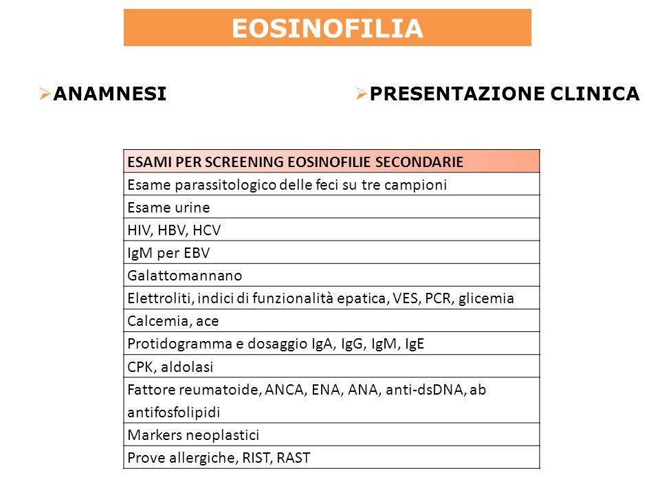 ESAMI PER SCREENING EOSINOFILIE SECONDARIE Esame parassitologico delle feci su tre campioni Esame urine HIV, HBV, HCV IgM per EBV Galattomannano Elettroliti, indici di funzionalità epatica, VES, PCR, glicemia Calcemia, ace Protidogramma e dosaggio IgA, IgG, IgM, IgE CPK, aldolasi Fattore reumatoide, ANCA, ENA, ANA, anti-dsDNA, ab antifosfolipidi Markers neoplastici Prove allergiche, RIST, RAST EOSINOFILIA ANAMNESI PRESENTAZIONE CLINICA