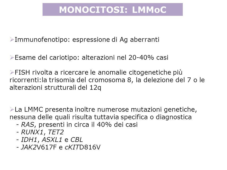 La LMMC presenta inoltre numerose mutazioni genetiche, nessuna delle quali risulta tuttavia specifica o diagnostica - RAS, presenti in circa il 40% dei casi - RUNX1, TET2 - IDH1, ASXL1 e CBL - JAK2V617F e cKITD816V MONOCITOSI: LMMoC Immunofenotipo: espressione di Ag aberranti Esame del cariotipo: alterazioni nel 20-40% casi FISH rivolta a ricercare le anomalie citogenetiche più ricorrenti:la trisomia del cromosoma 8, la delezione del 7 o le alterazioni strutturali del 12q
