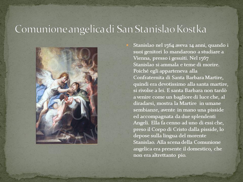 Stanislao nel 1564 aveva 14 anni, quando i suoi genitori lo mandarono a studiare a Vienna, presso i gesuiti. Nel 1567 Stanislao si ammala e teme di mo