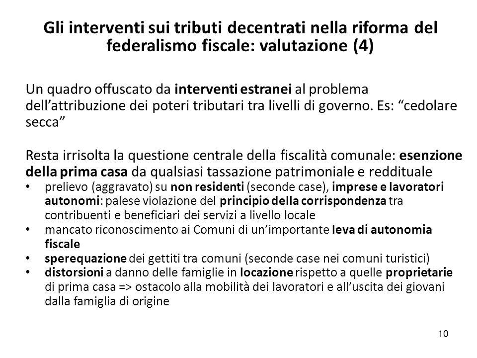 Gli interventi sui tributi decentrati nella riforma del federalismo fiscale: valutazione (4) Un quadro offuscato da interventi estranei al problema dellattribuzione dei poteri tributari tra livelli di governo.