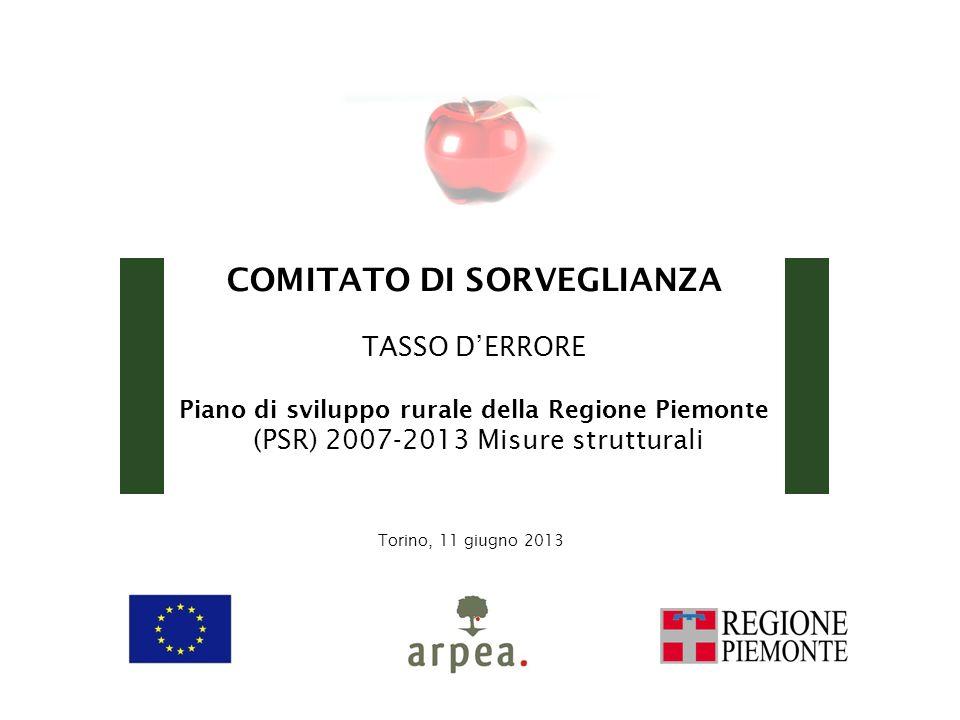 COMITATO DI SORVEGLIANZA TASSO DERRORE Piano di sviluppo rurale della Regione Piemonte (PSR) 2007-2013 Misure strutturali Torino, 11 giugno 2013