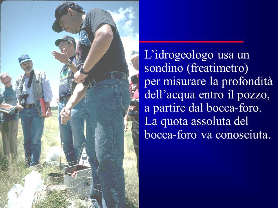 Lidrogeologo usa un sondino (freatimetro) per misurare la profondità dellacqua entro il pozzo, a partire dal bocca-foro. La quota assoluta del bocca-f