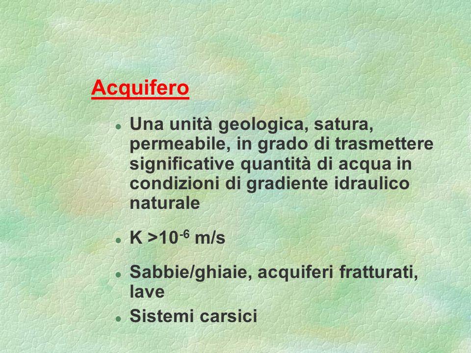 Acquifero l Una unità geologica, satura, permeabile, in grado di trasmettere significative quantità di acqua in condizioni di gradiente idraulico natu