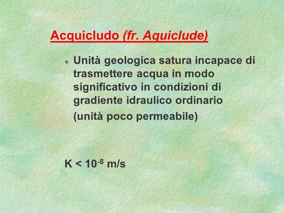 Acquicludo (fr. Aquiclude) l Unità geologica satura incapace di trasmettere acqua in modo significativo in condizioni di gradiente idraulico ordinario