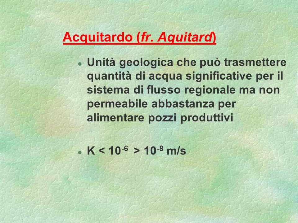Acquitardo (fr. Aquitard) l Unità geologica che può trasmettere quantità di acqua significative per il sistema di flusso regionale ma non permeabile a