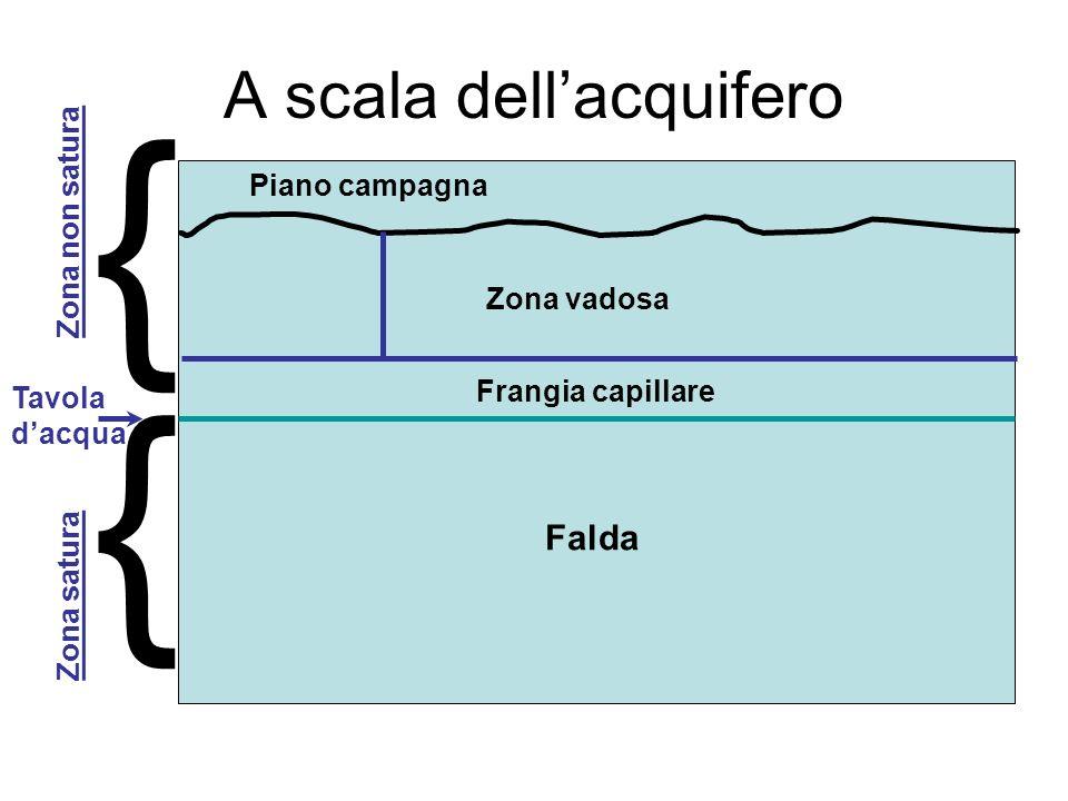 A scala dellacquifero Zona vadosa Piano campagna Frangia capillare Falda { { Tavola dacqua Zona satura Zona non satura