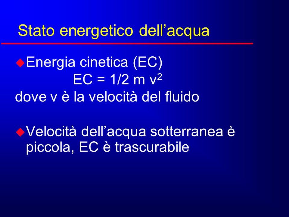 u Energia cinetica (EC) EC = 1/2 m v 2 dove v è la velocità del fluido u Velocità dellacqua sotterranea è piccola, EC è trascurabile Stato energetico