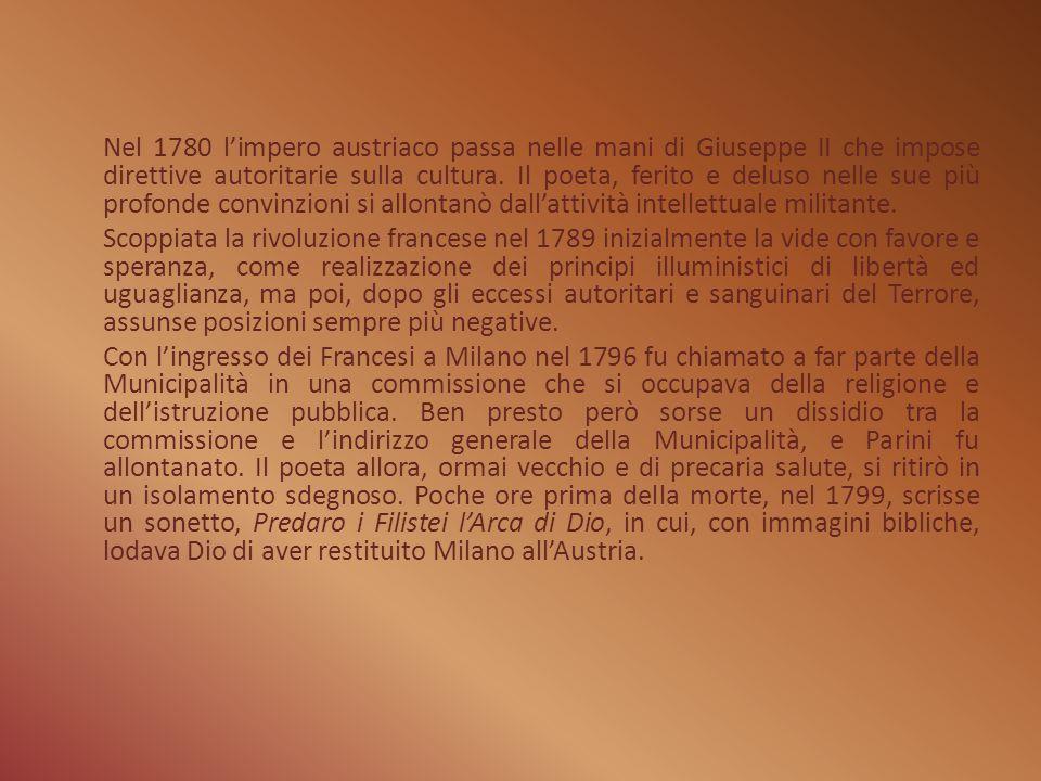 Le Opere Le Odi Le 22 (25 nella seconda edizione) Odi furono scritte da Giuseppe Parini come poesia d occasione in un ampio lasso di tempo che va dal1758 al 1790.