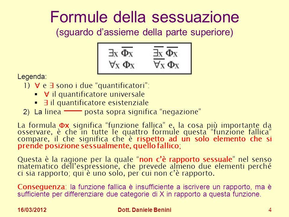 Formule della sessuazione (sguardo dassieme della parte superiore) Legenda: 1) e sono i due quantificatori: il quantificatore universale il quantifica