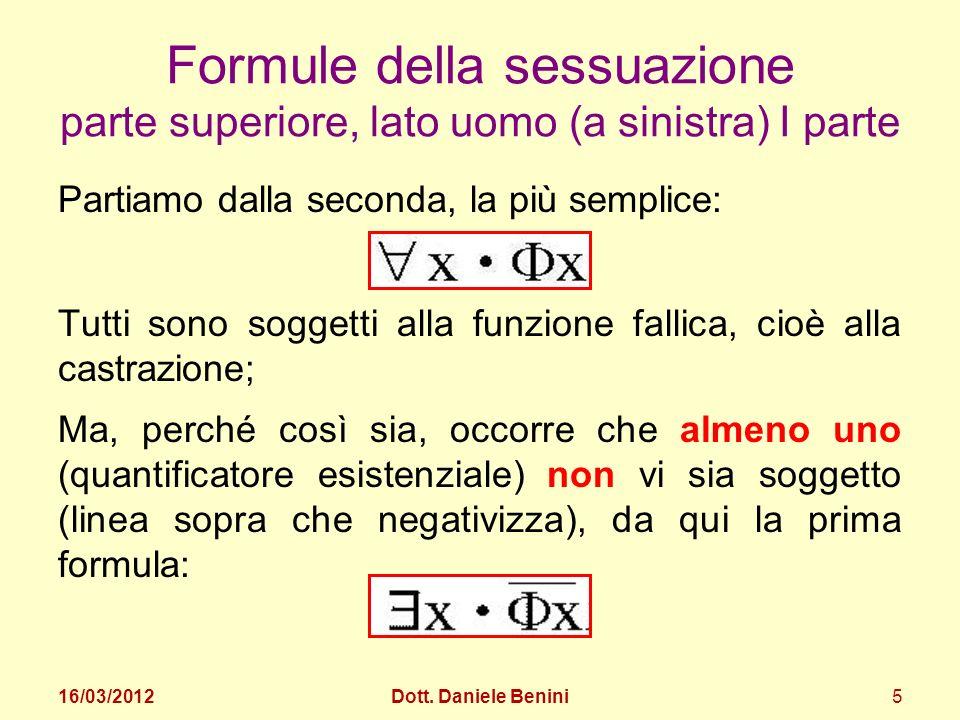 Le formule della sessuazione lato maschile rappresentano un sistema chiuso: Formule della sessuazione parte superiore, lato uomo (a sinistra) II parte 16/03/2012Dott.
