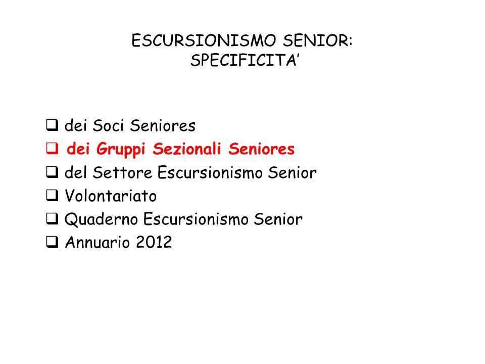 ESCURSIONISMO SENIOR: SPECIFICITA dei Soci Seniores dei Gruppi Sezionali Seniores del Settore Escursionismo Senior Volontariato Quaderno Escursionismo Senior Annuario 2012