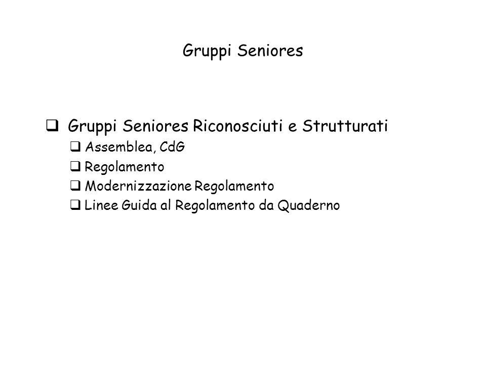 Gruppi Seniores Gruppi Seniores Riconosciuti e Strutturati Assemblea, CdG Regolamento Modernizzazione Regolamento Linee Guida al Regolamento da Quaderno