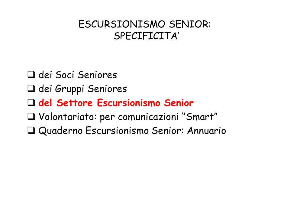 ESCURSIONISMO SENIOR: SPECIFICITA dei Soci Seniores dei Gruppi Seniores del Settore Escursionismo Senior Volontariato: per comunicazioni Smart Quaderno Escursionismo Senior: Annuario