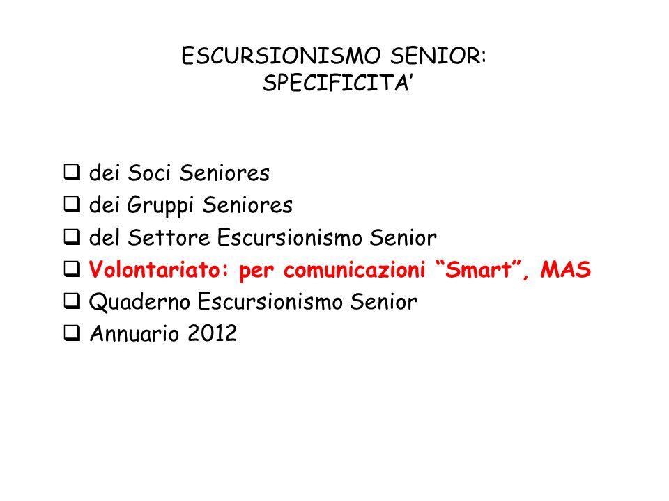 ESCURSIONISMO SENIOR: SPECIFICITA dei Soci Seniores dei Gruppi Seniores del Settore Escursionismo Senior Volontariato: per comunicazioni Smart, MAS Quaderno Escursionismo Senior Annuario 2012