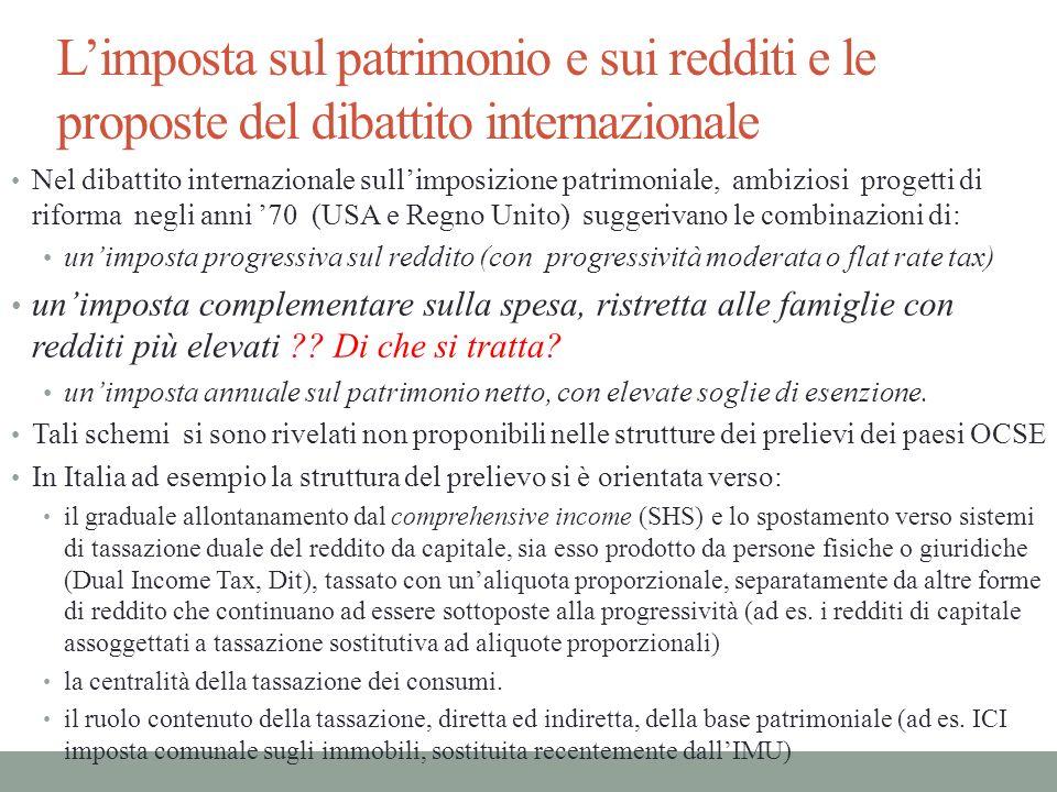 Limposta sul patrimonio e sui redditi e le proposte del dibattito internazionale Nel dibattito internazionale sullimposizione patrimoniale, ambiziosi