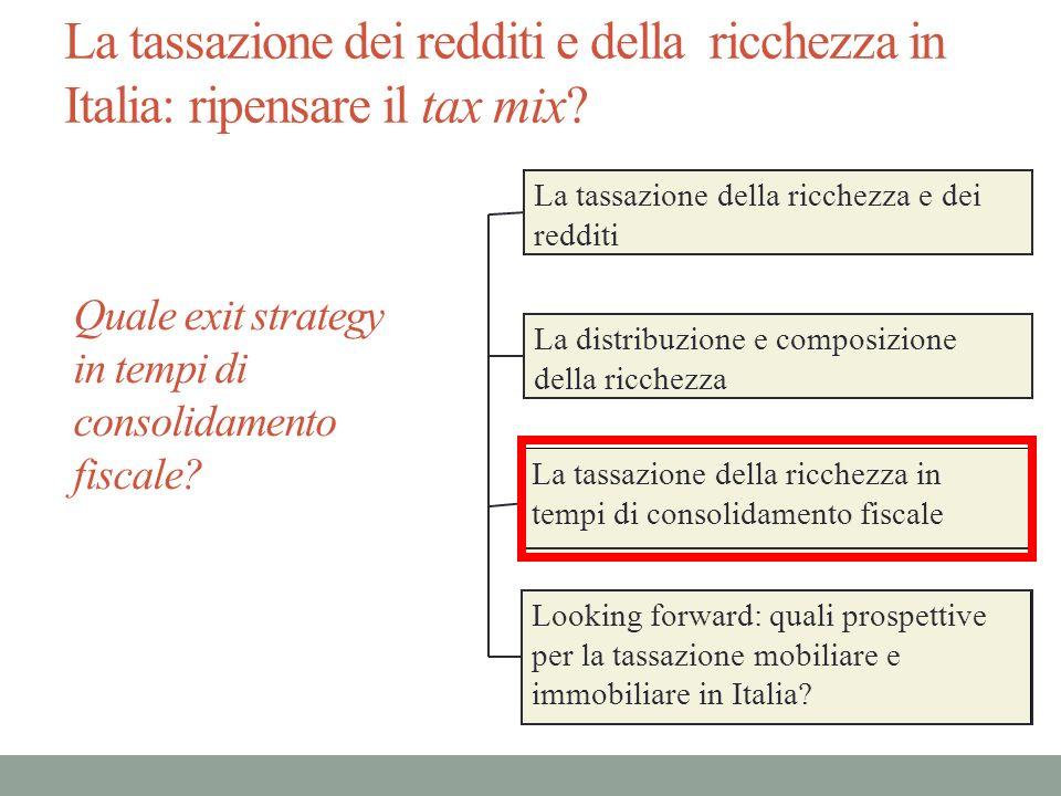 La tassazione dei redditi e della ricchezza in Italia: ripensare il tax mix? La tassazione della ricchezza e dei redditi La distribuzione e composizio