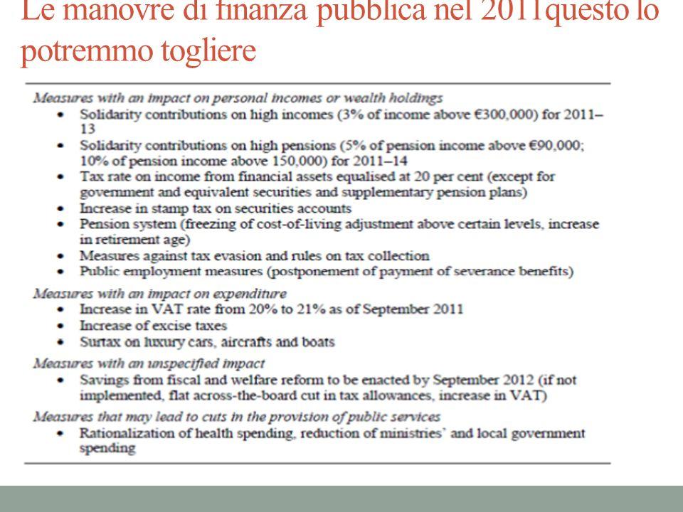Le manovre di finanza pubblica nel 2011questo lo potremmo togliere
