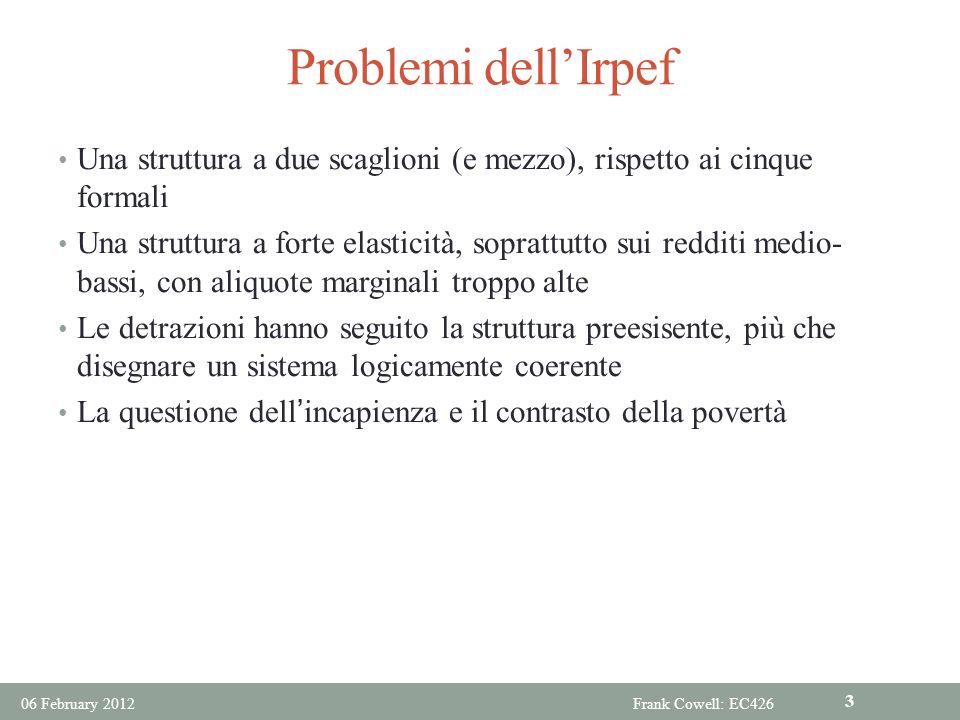 Problemi dellIrpef Una struttura a due scaglioni (e mezzo), rispetto ai cinque formali Una struttura a forte elasticità, soprattutto sui redditi medio