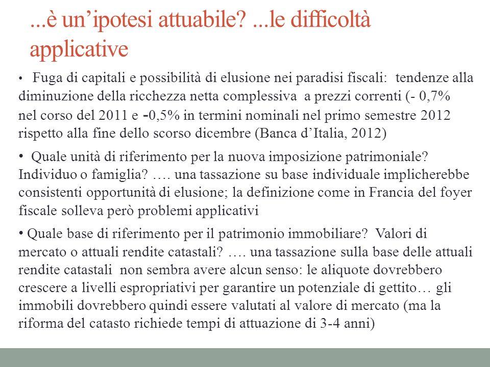 ...è unipotesi attuabile?...le difficoltà applicative Fuga di capitali e possibilità di elusione nei paradisi fiscali: tendenze alla diminuzione della