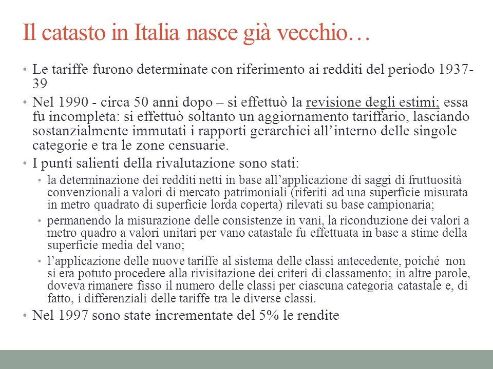 Il catasto in Italia nasce già vecchio… Le tariffe furono determinate con riferimento ai redditi del periodo 1937- 39 Nel 1990 - circa 50 anni dopo –