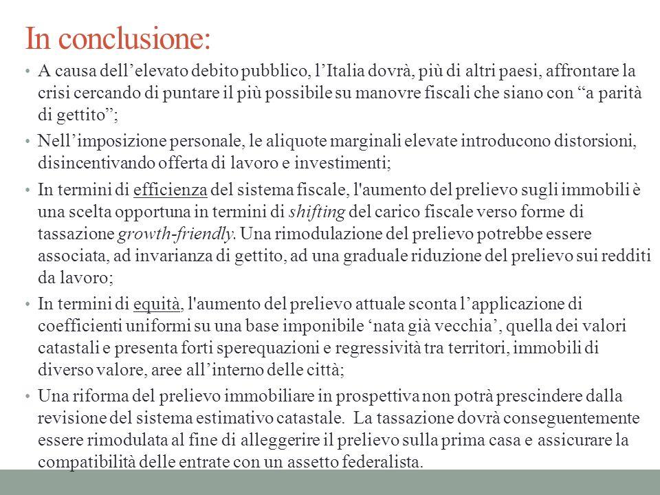 In conclusione: A causa dellelevato debito pubblico, lItalia dovrà, più di altri paesi, affrontare la crisi cercando di puntare il più possibile su ma
