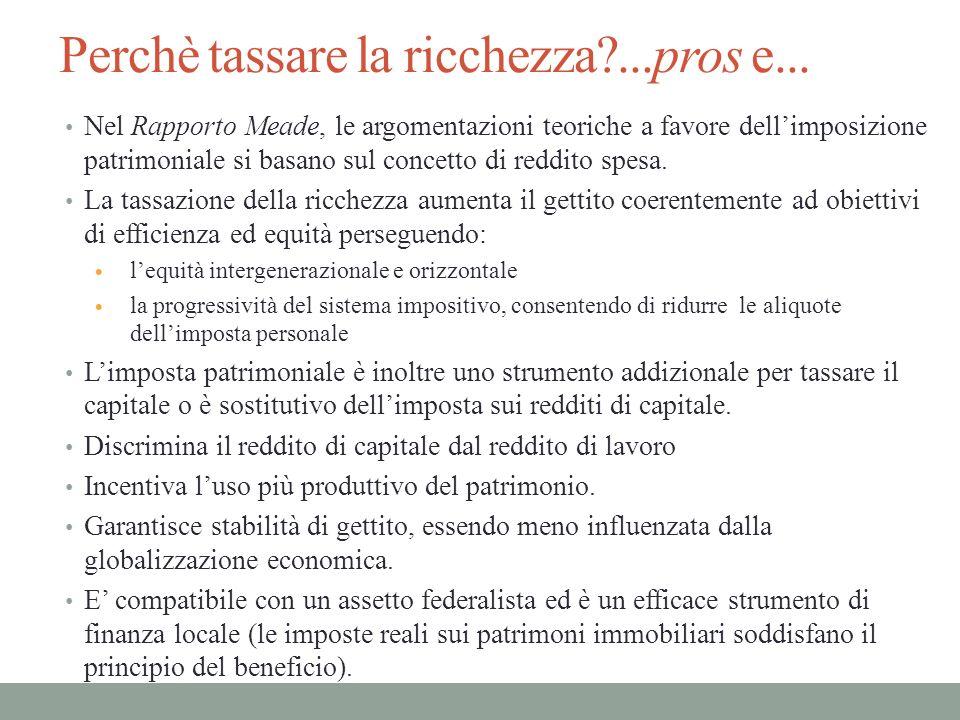 Perchè tassare la ricchezza?...pros e... Nel Rapporto Meade, le argomentazioni teoriche a favore dellimposizione patrimoniale si basano sul concetto d