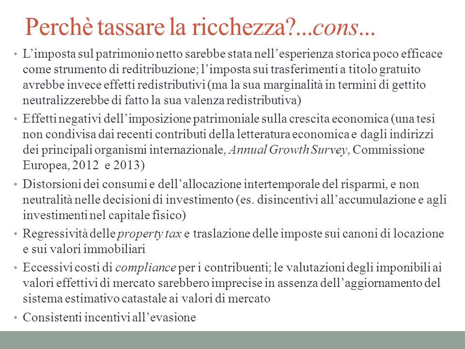 La concentrazione della ricchezza e dei redditi familiari in Italia Fonte: La ricchezza delle famiglie italliane, Banca dItalia, 2012 La ricchezza in Italia è molto concentrata (il decile più alto delle famiglie possiede il 45,9% della ricchezza totale); La distribuzione del reddito è meno diseguale (lindice di Gini è 0,351) La distribuzione delle attività finanziarie è la più concentrata con un indice di Gini di 0,779 La distribuzione della proprietà di abitazioni è più concentrata del reddito (lindice di Gini sulla ricchezza reale è 0,628) 2010 % di ricchezza detenuta dal 10% delle famiglie più ricche45,9 % di ricchezza detenuta dal 50% delle famiglie più povere9,4 Indice di concentrazione di Gini ricchezza netta0,624 attività reali0,628 attività finanziarie0,779 passività finanziarie0,911 Indice di concentrazione sui redditi familiari0,351
