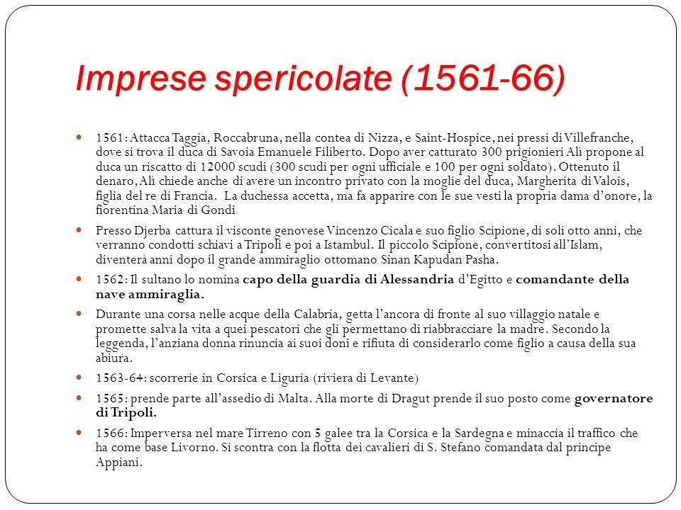 Imprese spericolate (1561-66) 1561: Attacca Taggia, Roccabruna, nella contea di Nizza, e Saint-Hospice, nei pressi di Villefranche, dove si trova il d