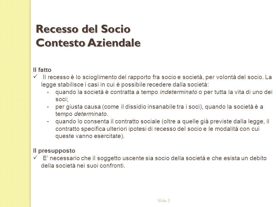 Slide 3 Il fatto Il recesso è lo scioglimento del rapporto fra socio e società, per volontà del socio. La legge stabilisce i casi in cui è possibile r