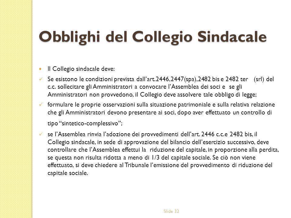 Slide 32 Obblighi del Collegio Sindacale Il Collegio sindacale deve: Se esistono le condizioni prevista dallart.2446,2447(spa),2482 bis e 2482 ter (srl) del c.c.