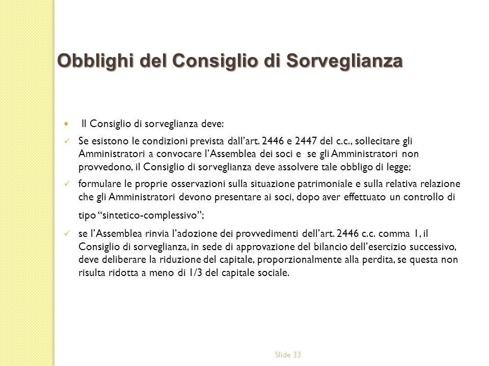 Slide 33 Il Consiglio di sorveglianza deve: Se esistono le condizioni prevista dallart. 2446 e 2447 del c.c., sollecitare gli Amministratori a convoca