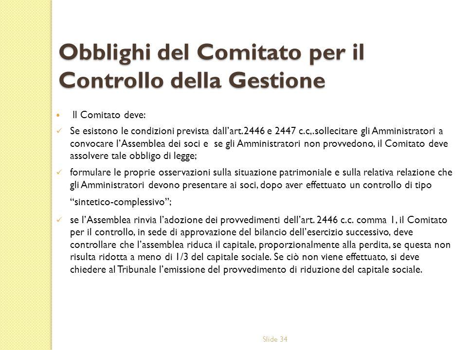 Slide 34 Obblighi del Comitato per il Controllo della Gestione Il Comitato deve: Se esistono le condizioni prevista dallart.2446 e 2447 c.c,.sollecita