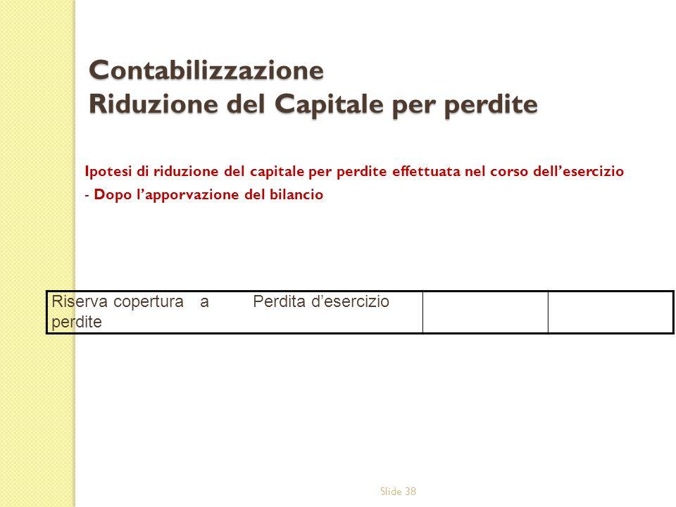 Slide 38 Contabilizzazione Riduzione del Capitale per perdite Ipotesi di riduzione del capitale per perdite effettuata nel corso dellesercizio - Dopo
