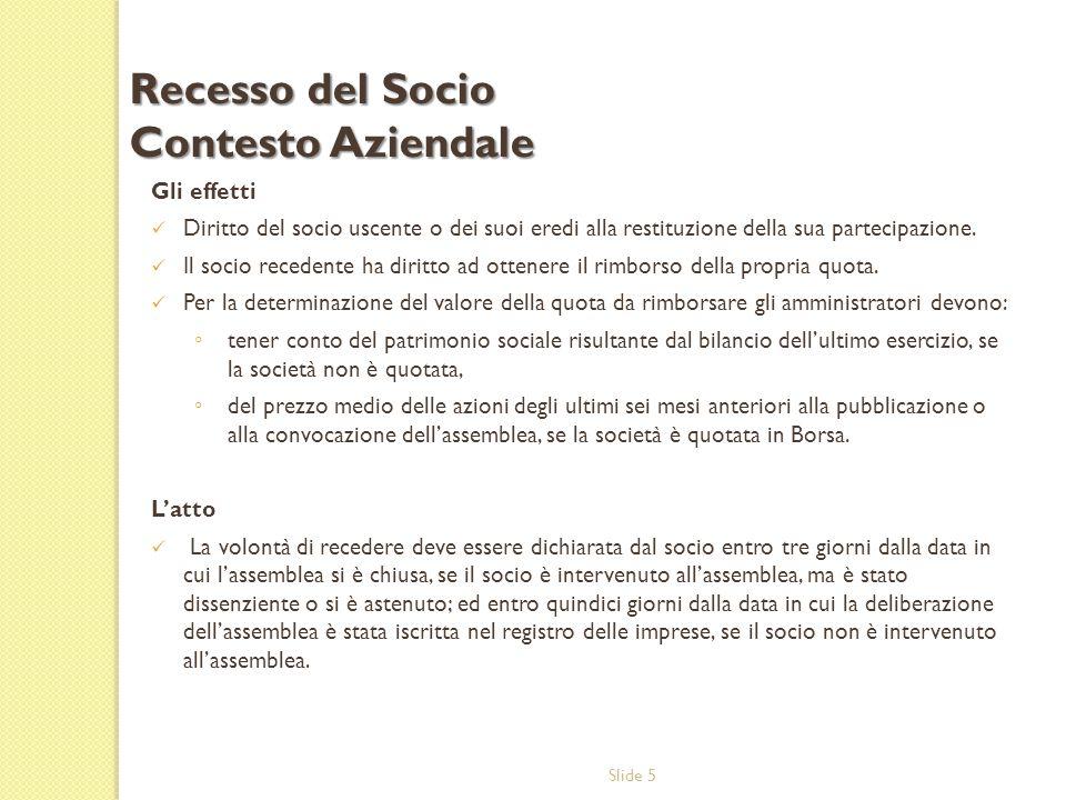 Slide 5 Gli effetti Diritto del socio uscente o dei suoi eredi alla restituzione della sua partecipazione.