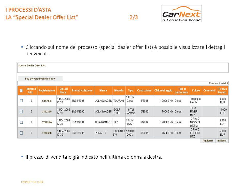 PAGE 14 Cliccando sul nome del processo (special dealer offer list) è possibile visualizzare i dettagli dei veicoli.