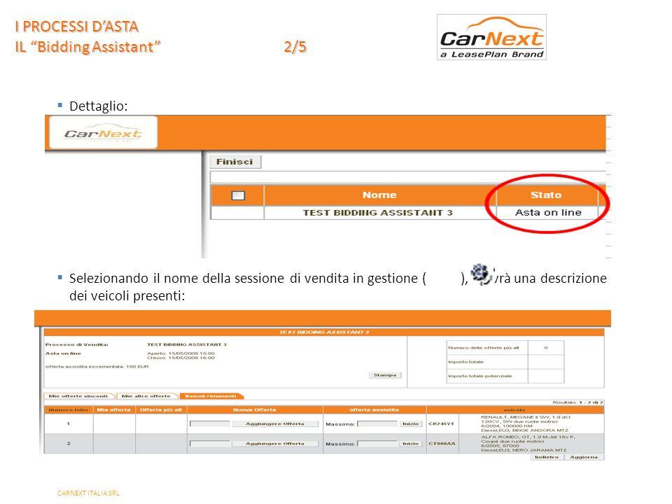 PAGE 8 Dettaglio: Selezionando il nome della sessione di vendita in gestione ( ), si avrà una descrizione dei veicoli presenti: I PROCESSI DASTA IL Bidding Assistant 2/5 CARNEXT ITALIA SRL